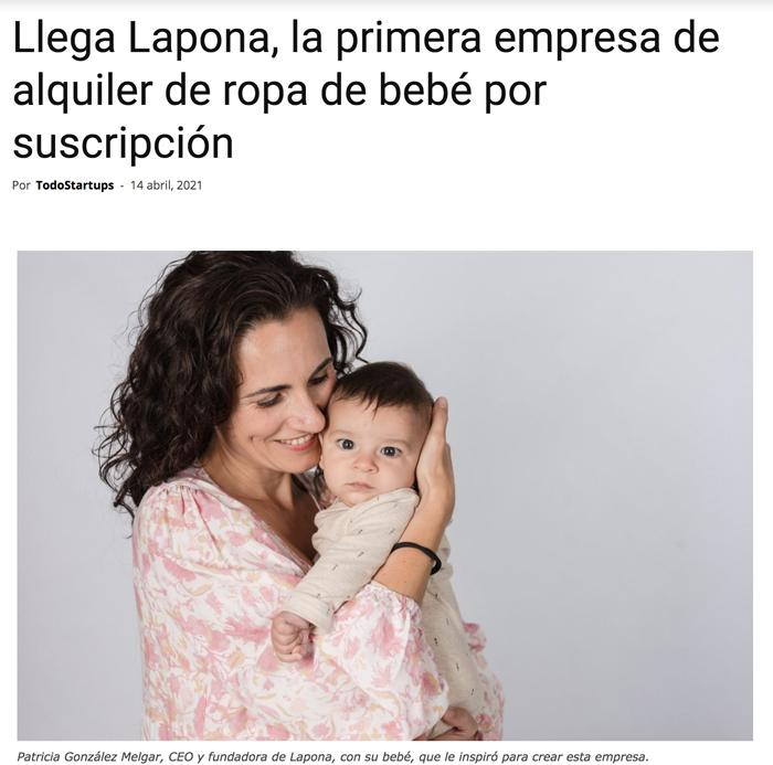 Lapona aparece en el diario de Todo Startups